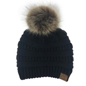 🍁 Black CC Knitted Beanie with Faux Fur